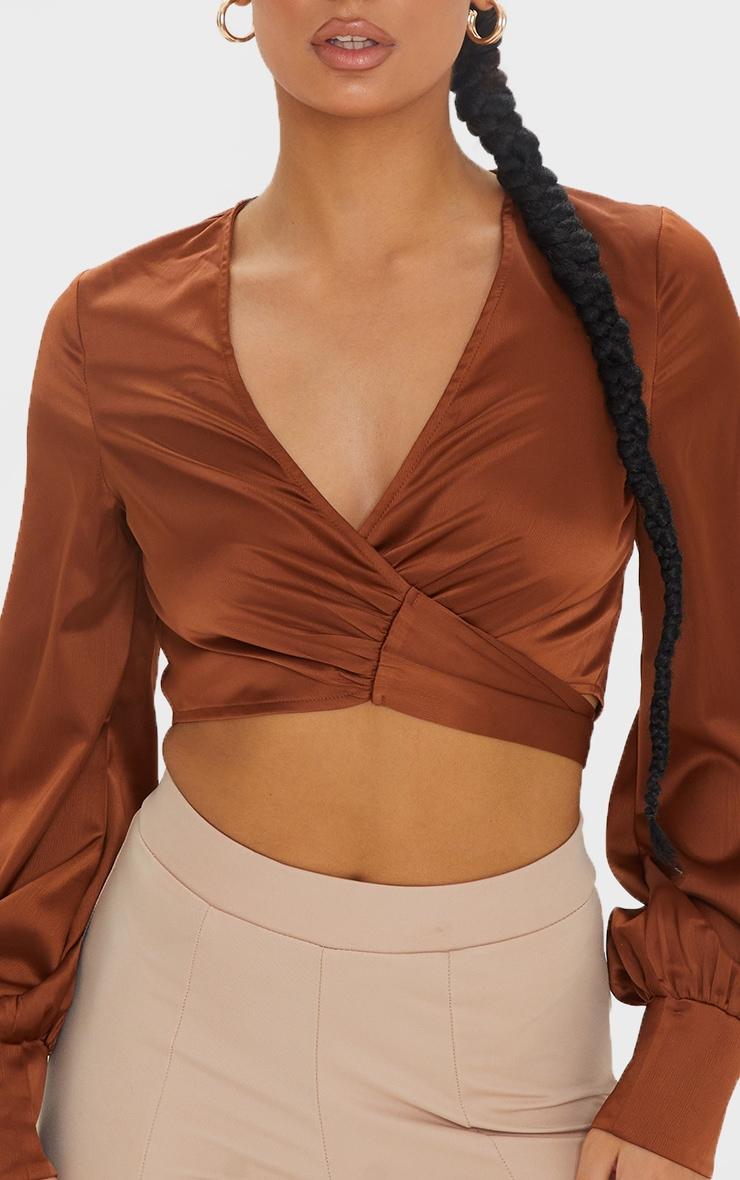 Chocolate Satin Plunge Tie Front Tassel Detail Crop Blouse 4