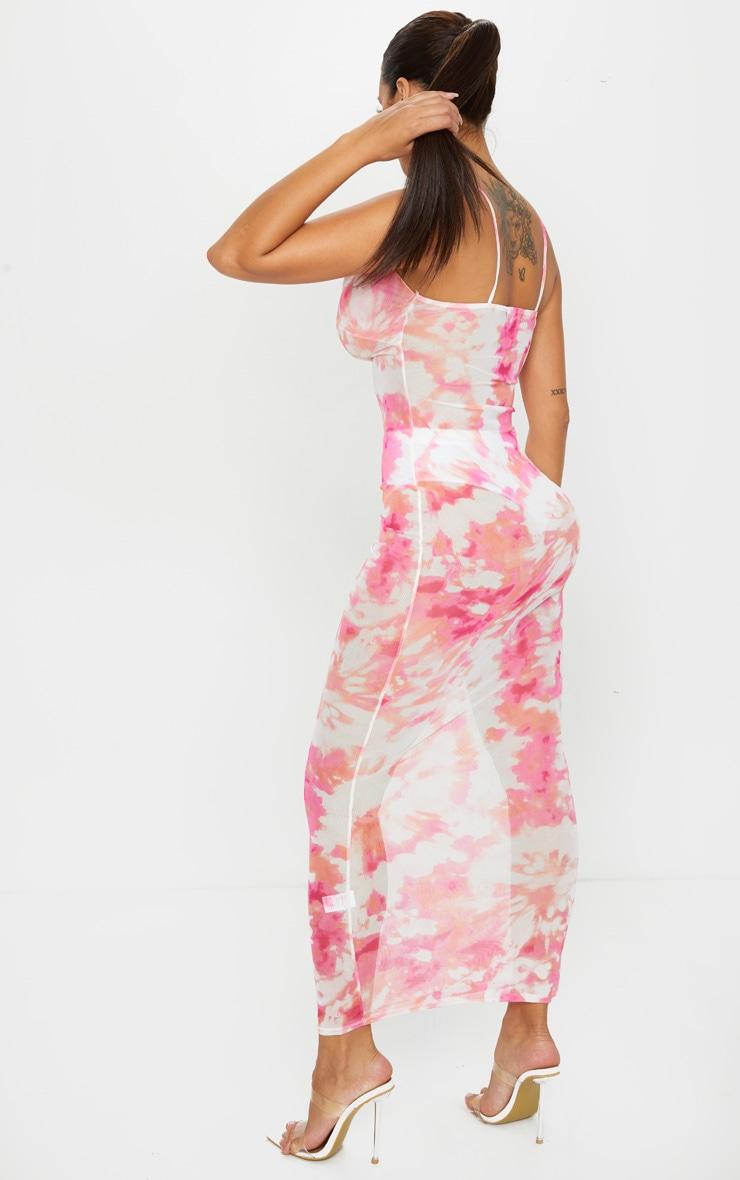 Shape Pink Tie Dye Mesh Cowl Neck Maxi Dress 2