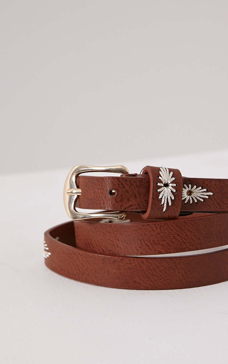Nathalie Tan Embroidered Skinny Belt 1