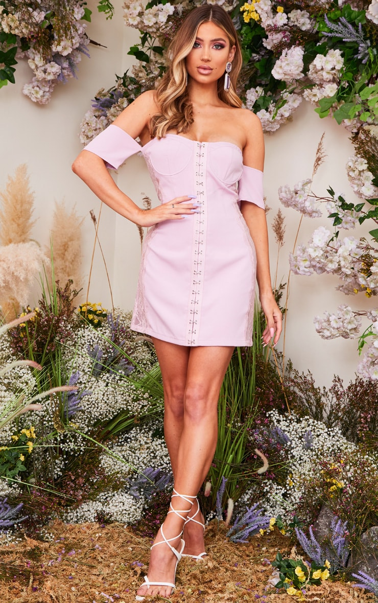 Lilac Woven Lace Insert Hook & Eye Bardot Bodycon Dress 1