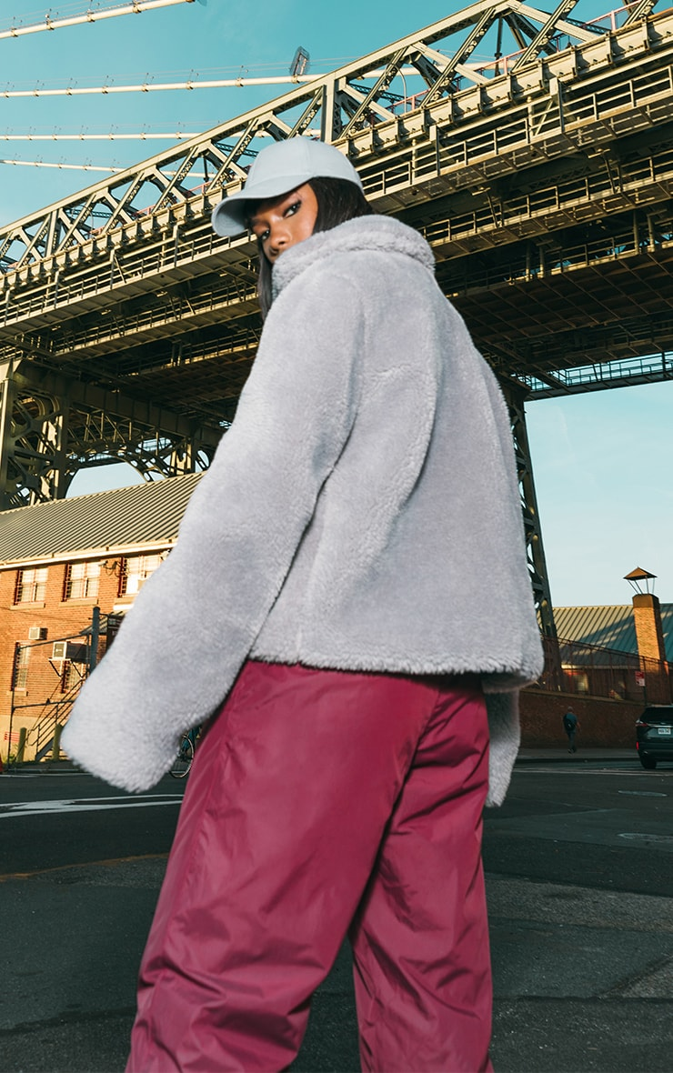 Grey Teddy Faux Fur Pocket Front Jacket 2
