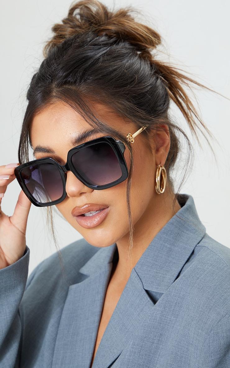 PRETTYLITTLETHING Black Branded Oversized Square Sunglasses 1