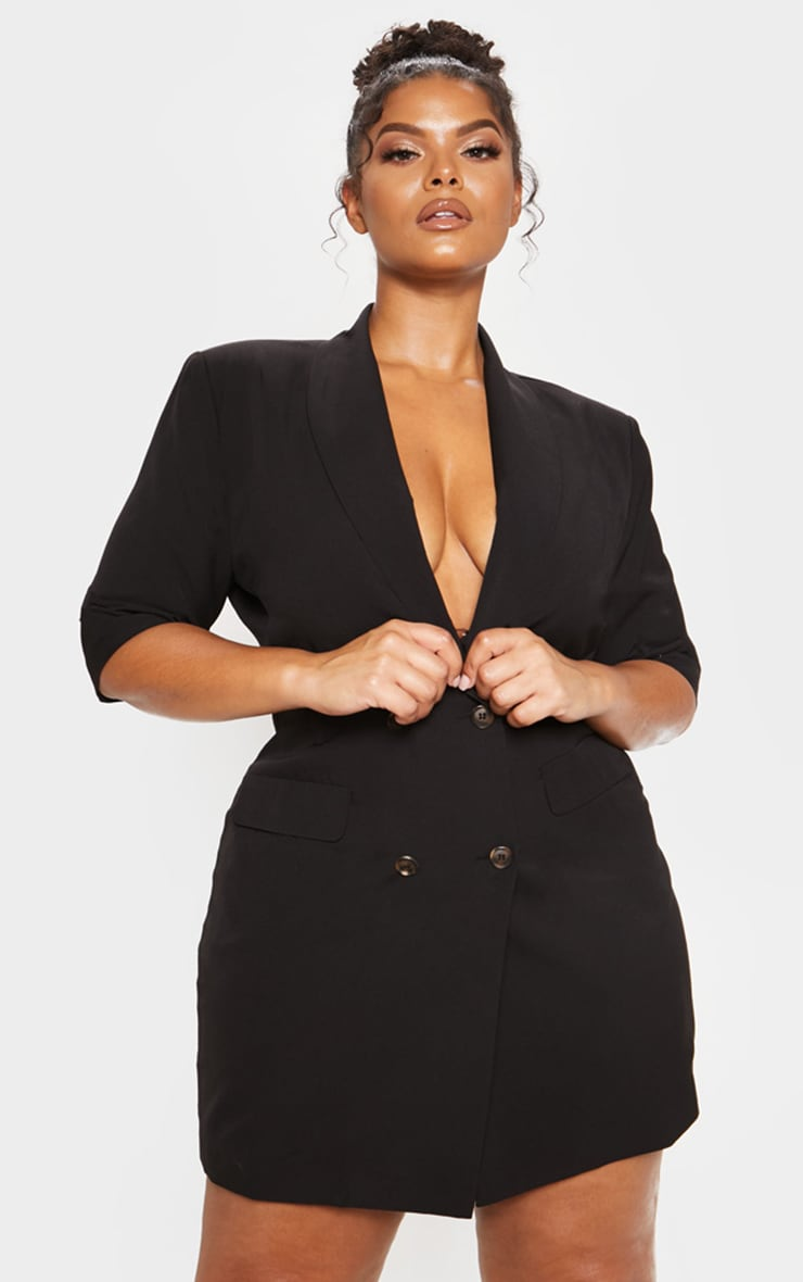Black 3/4 Sleeve Blazer Dress