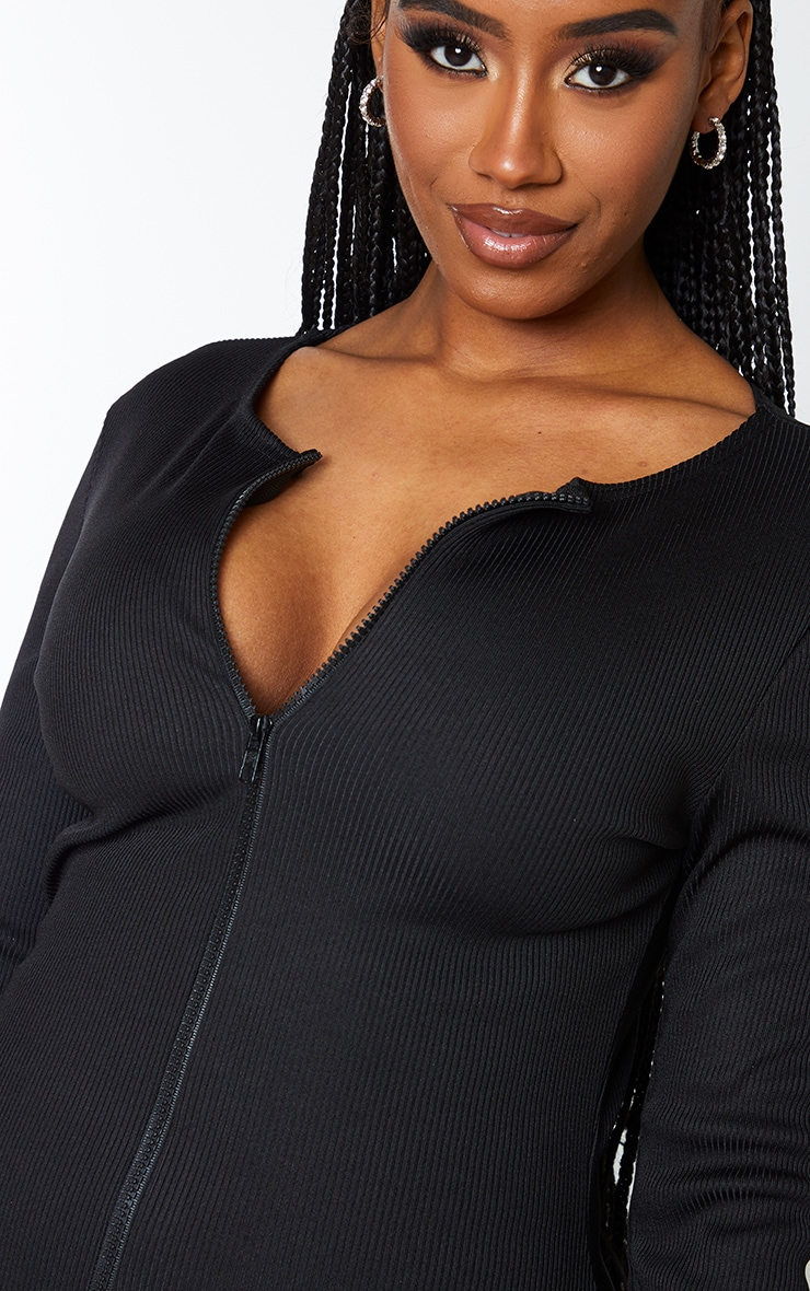 Shape Black Jumbo Rib Zip Detail Long Sleeve Bodycon Dress 5