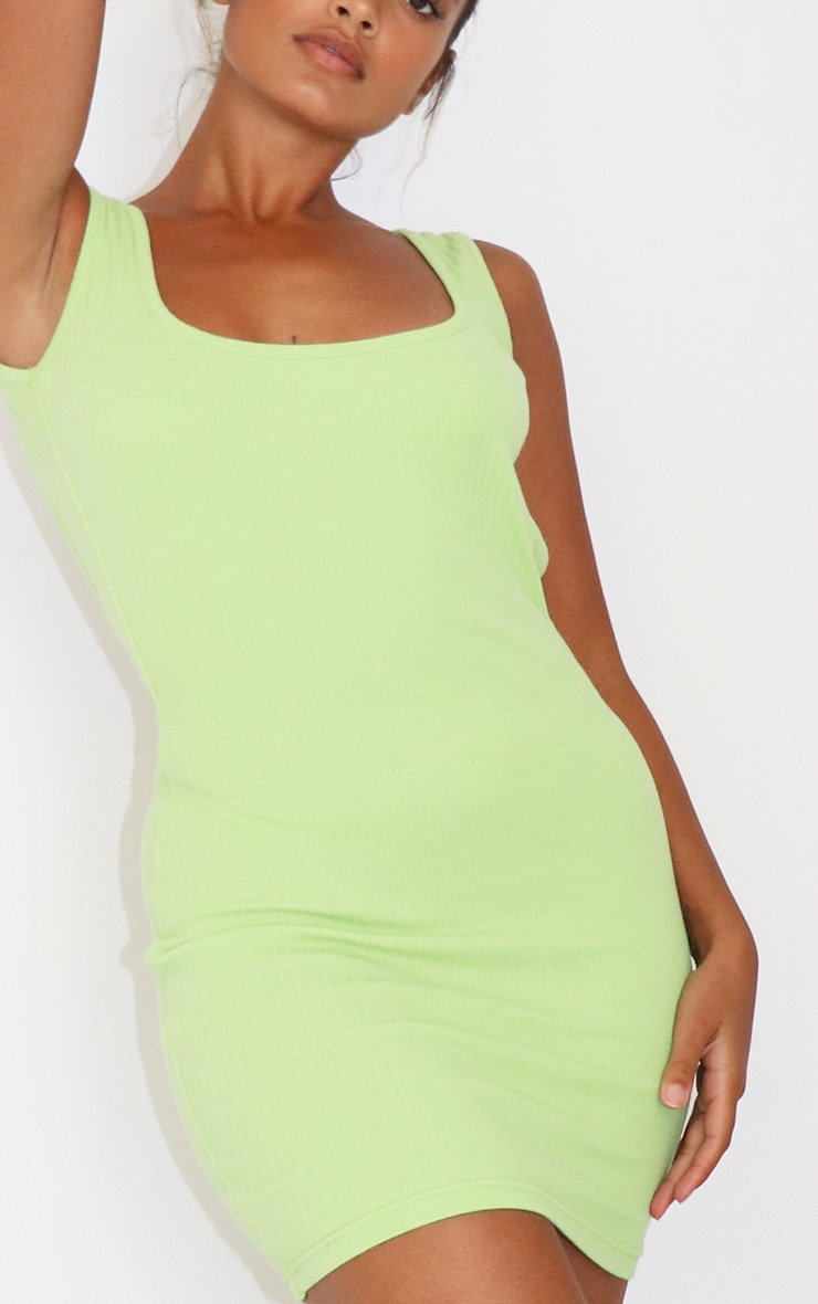 Petite Lime Low Back Ribbed Dress 3