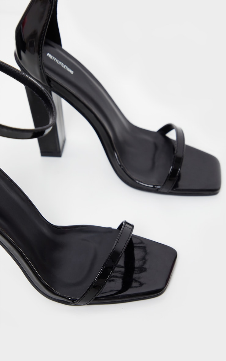 Black Square Toe High Block Heel Sandal 5