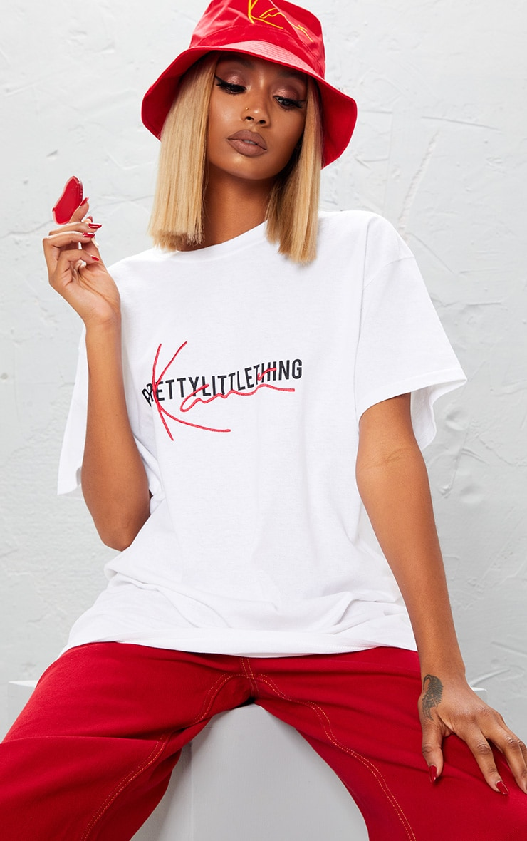 KARL KANI White Embroidered T Shirt  3