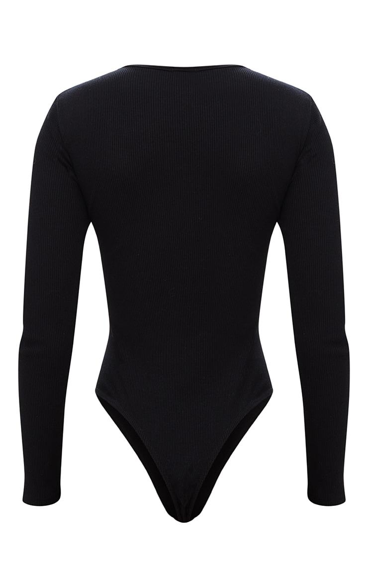 Black Jersey Rib Longsleeve Cropped Thong Bodysuit 4