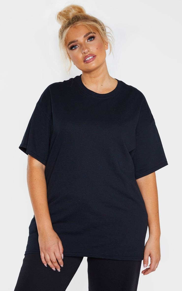 Plus Black Oversized Boxy T Shirt  1