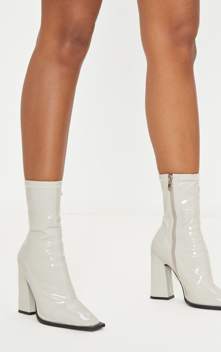 Off-White Square Toe Block Heel Ankle Sock Boot 1