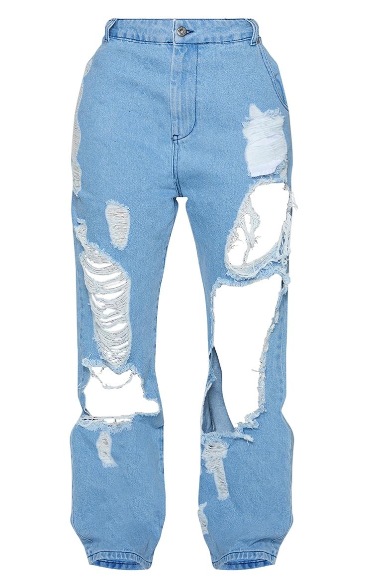 Shape Light Blue Wash Extreme Distressed Split Hem Jeans 5