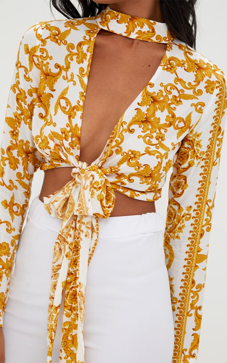 Beckette White Baroque Print Plunge Tie Front Choker Blouse 5