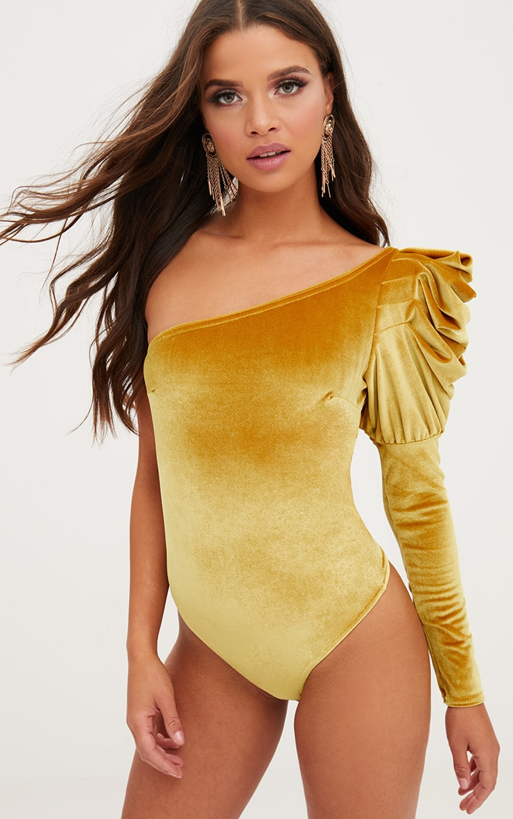 Mustard Velvet Puff One Shoulder Thong Bodysuit 1