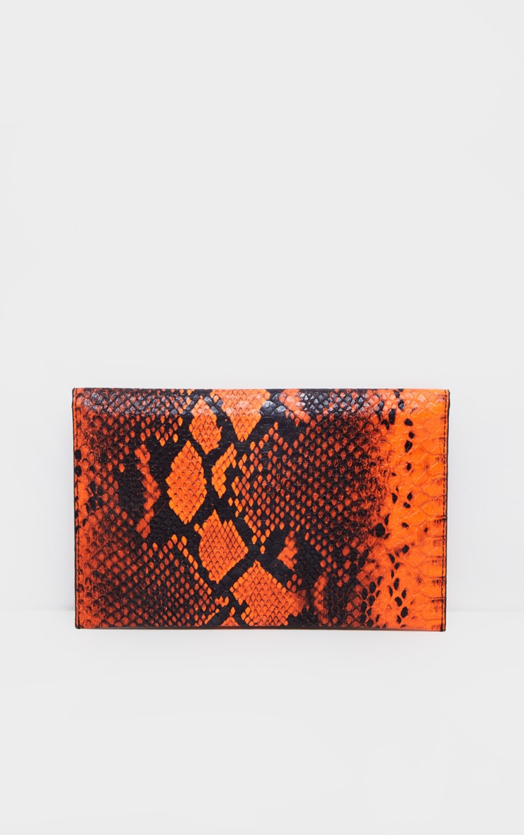 Neon Orange Snake Clutch Bag 4