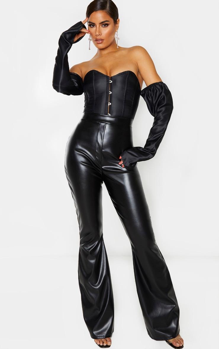 Tall Black PU Flare Trouser 1
