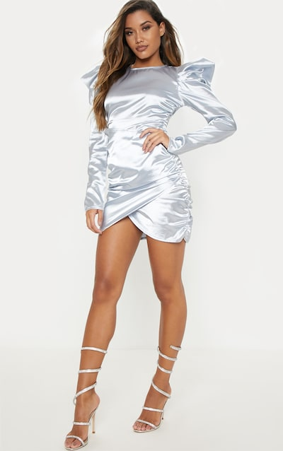 993132324d Silver Satin Puff Sleeve Ruched Bodycon Dress