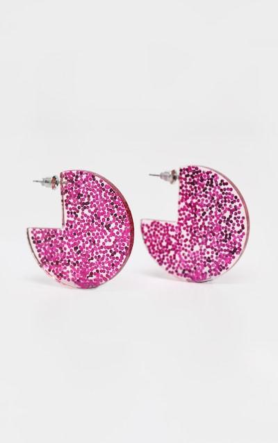 df3786a2efd3 Pink Glitter Resin Disc Earrings