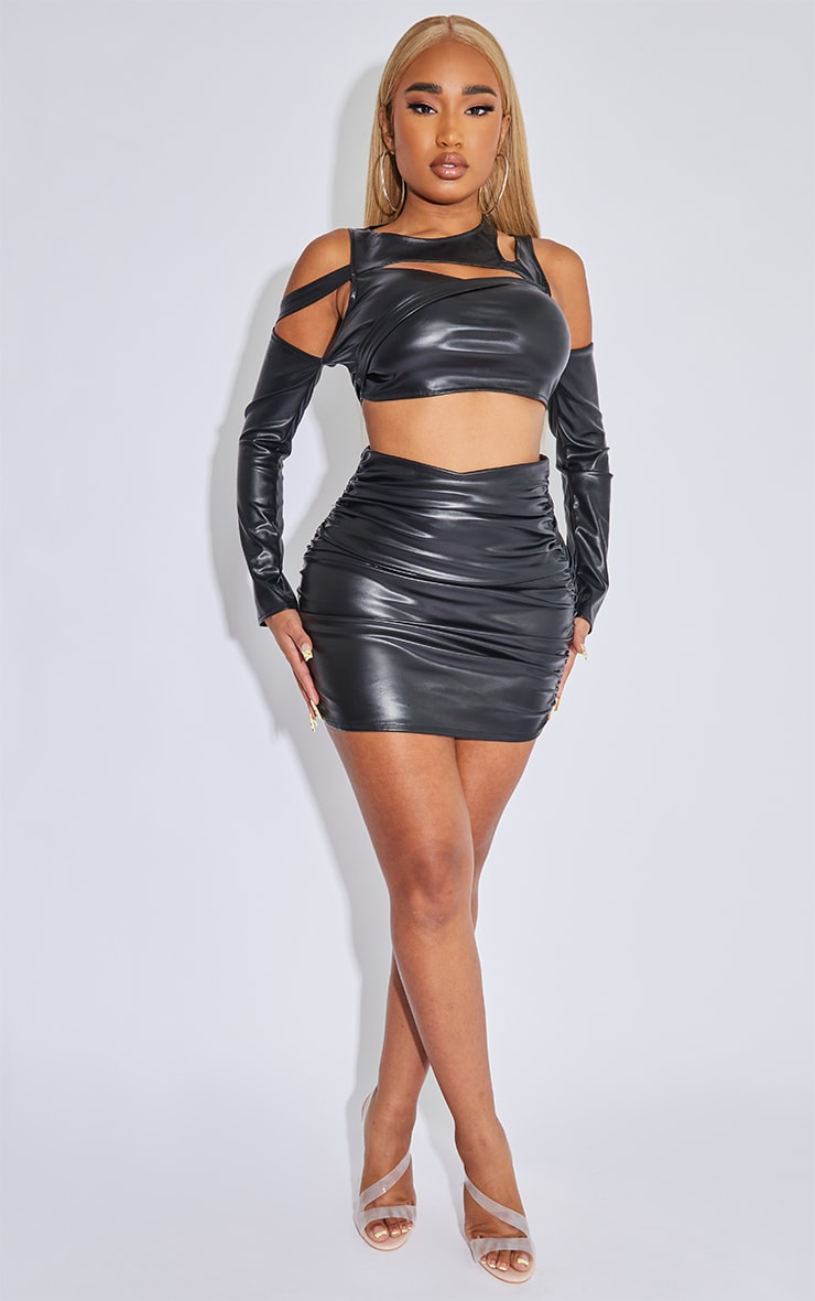 Shape Black Faux Leather Ruched Bodycon Skirt 1