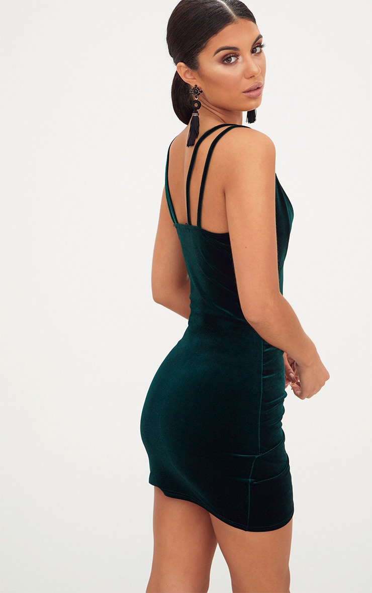 Emerald Green Velvet Double Strap Ruched Bodycon Dress 2