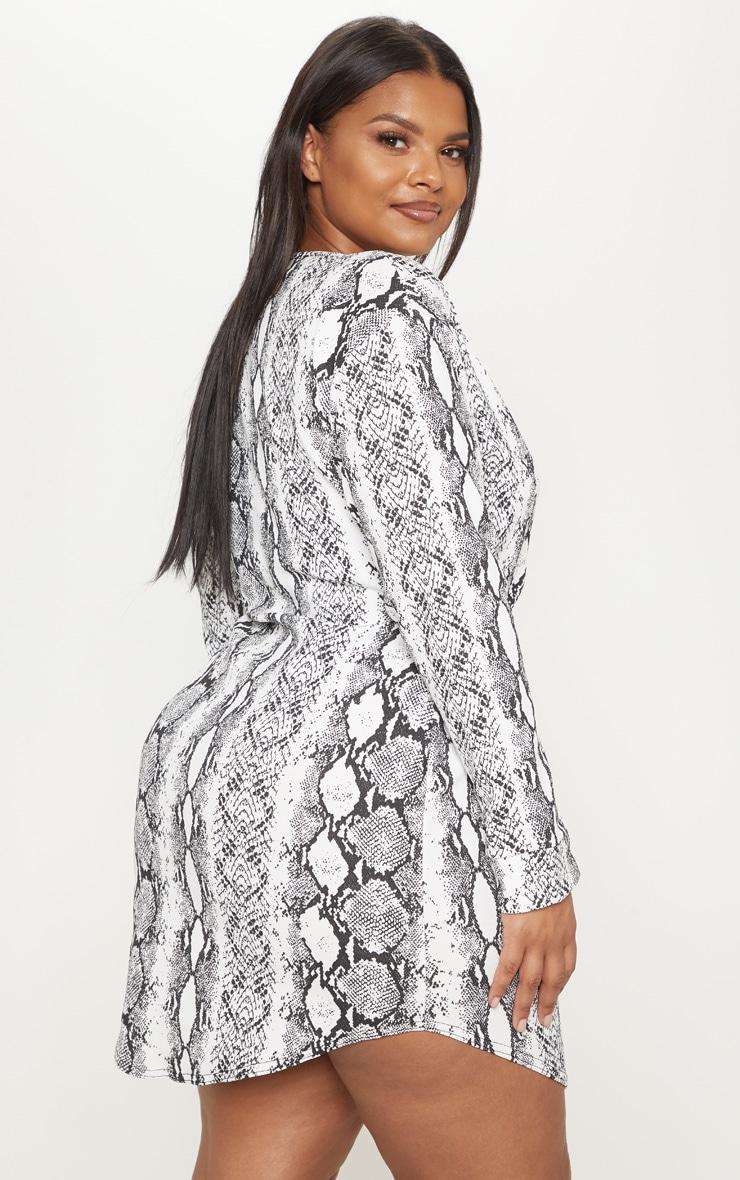Plus White Snake Print Wrap Detail Shift Dress 2