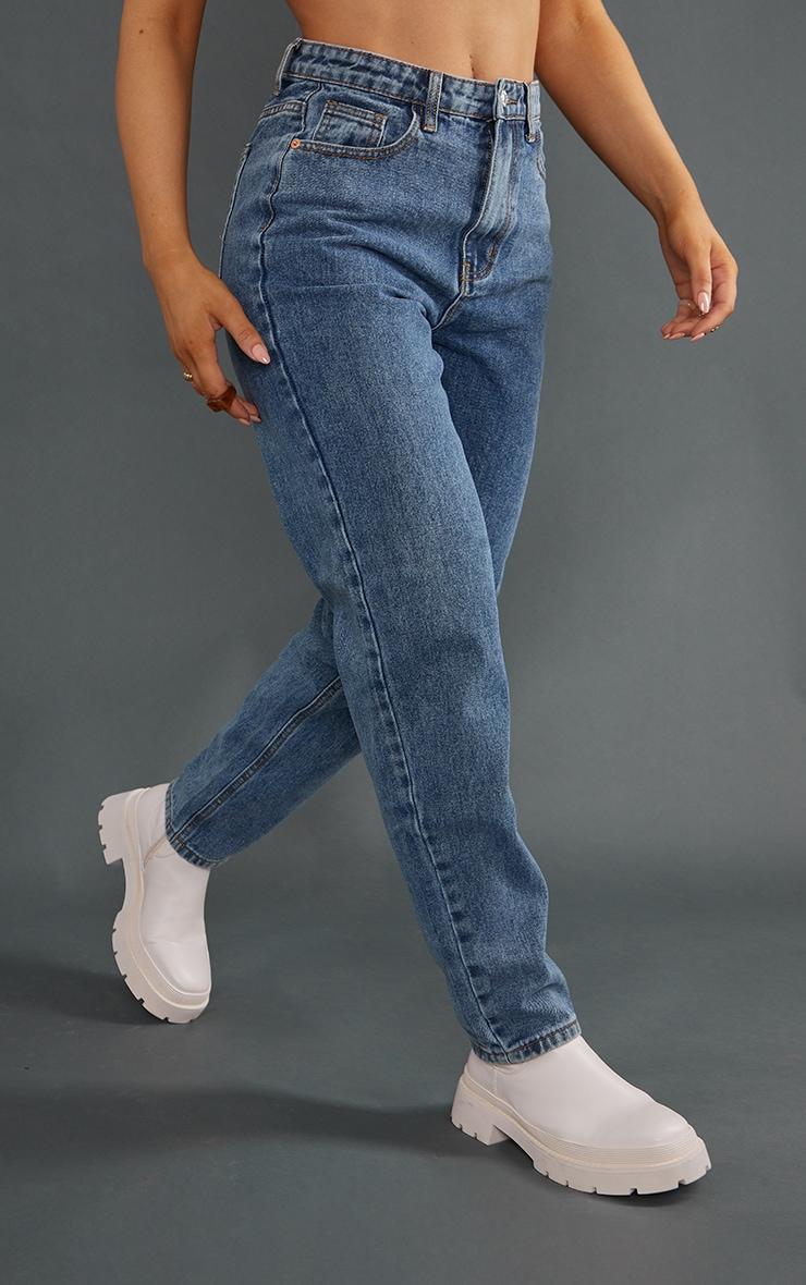 PRETTYLITTLETHING Vintage Wash Mom Jeans 2