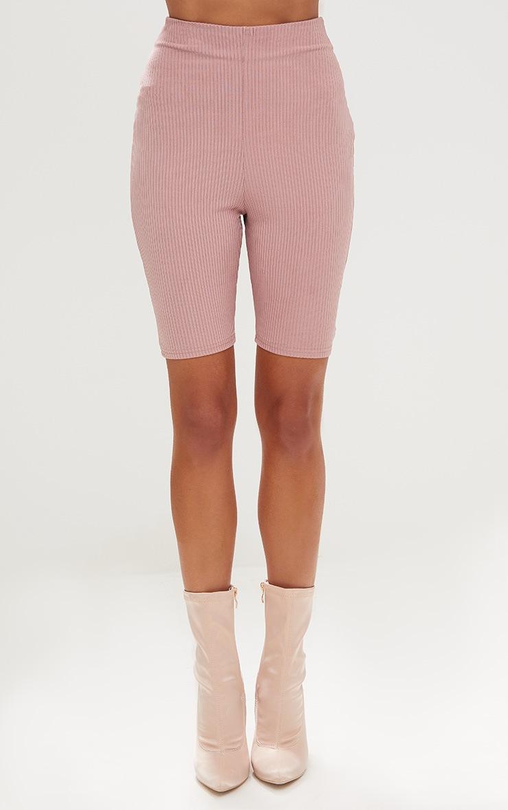 Light Pink Ribbed Shimmer Cycle Shorts 2