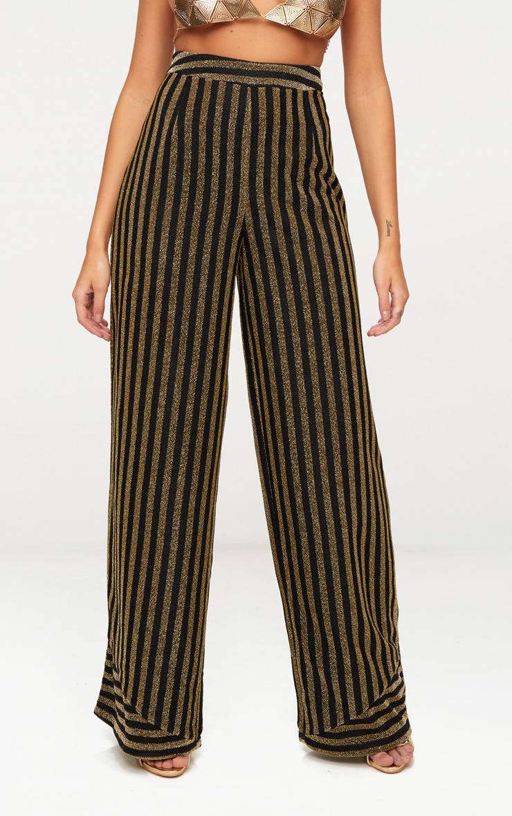 Black Metallic Stripe Wide Leg Trouser 2