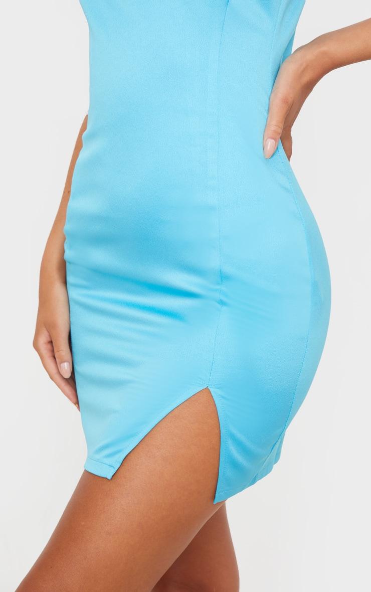 Blue Satin Strappy Cup Detail Split Hem Bodycon Dress 5