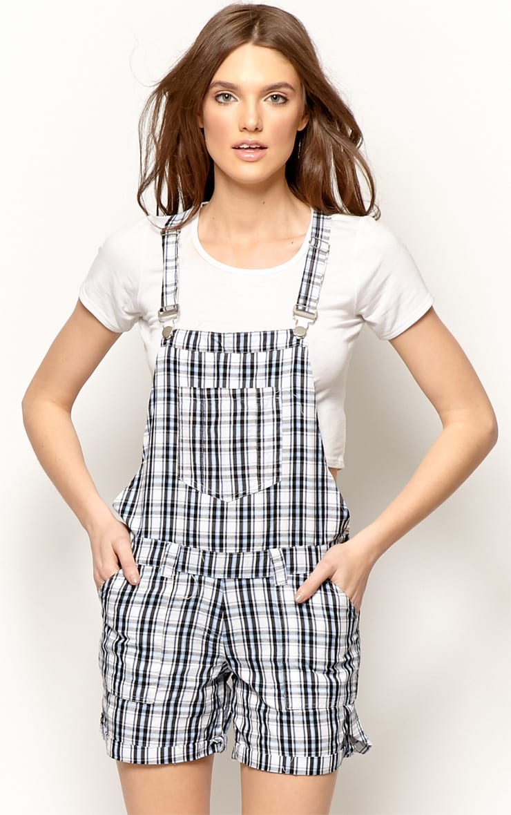 Katrina Blue Checked Dungaree Playsuit 1