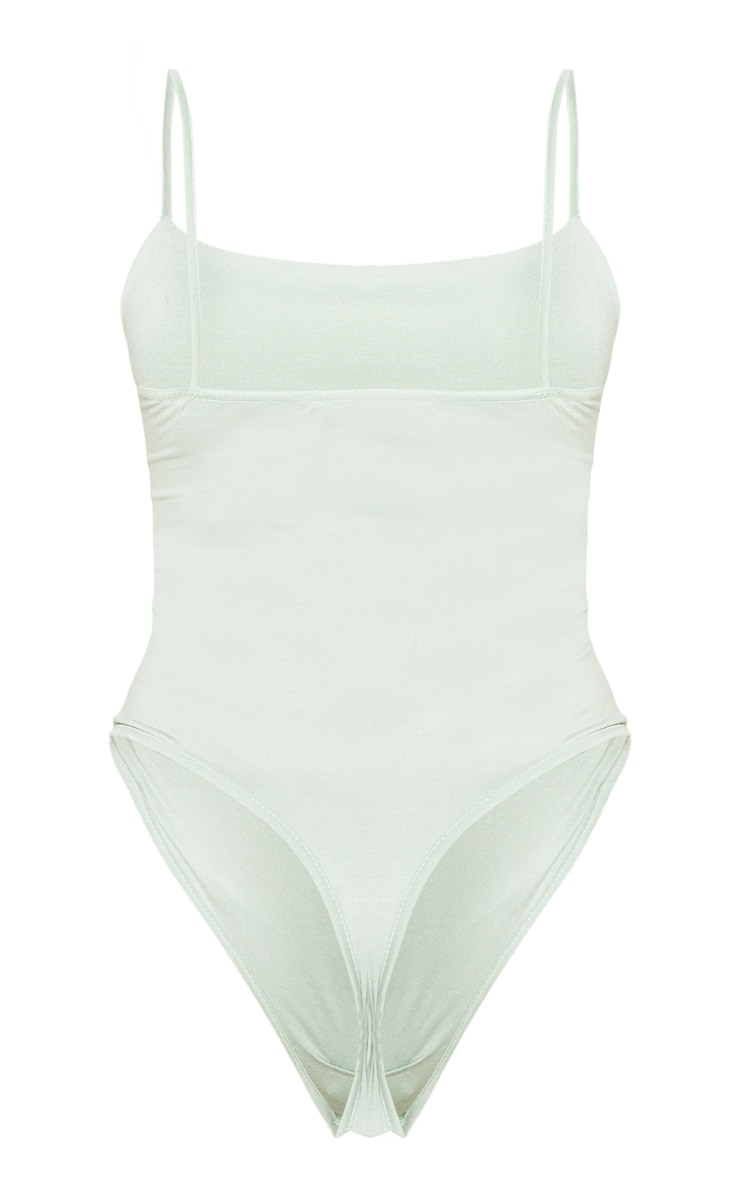 Tall Sage Khaki Basic Square Neck Thong Bodysuit 4