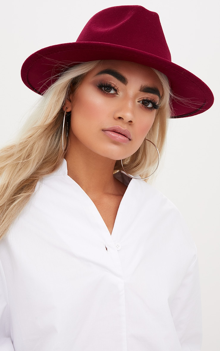 Burgundy Felt Fedora Hat 1