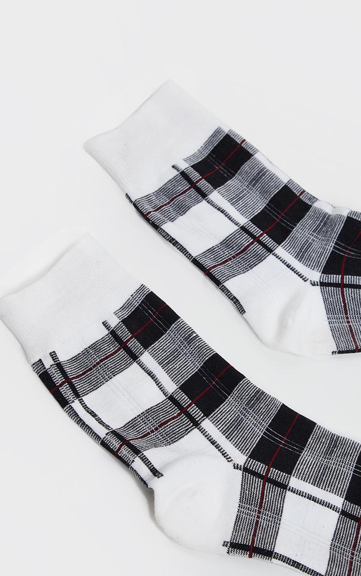 White Check Socks 4