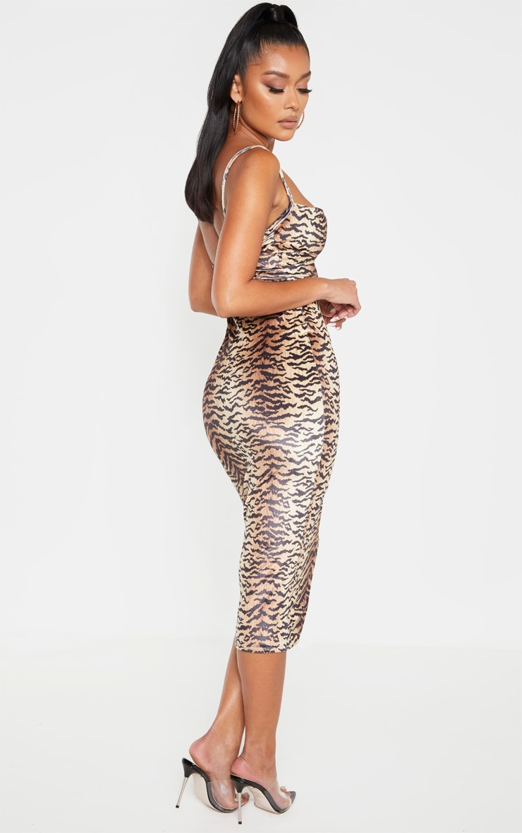 Brown Velvet Strappy Tiger Print Midi Dress 2