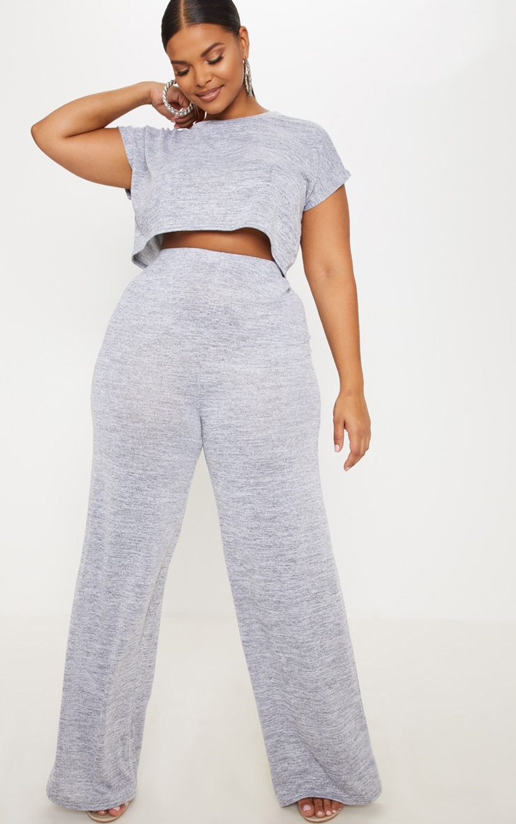 Plus Grey Wide Leg Pants 1