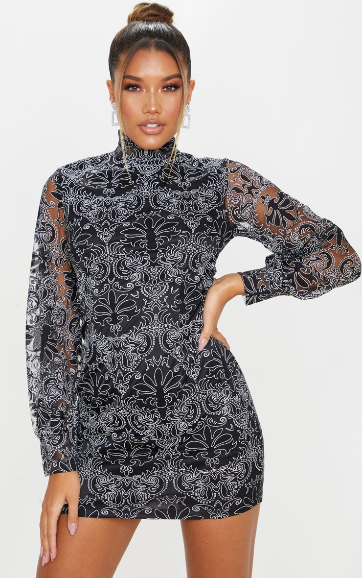 Black Flocked Lace Long Sleeve Bodycon Dress 1