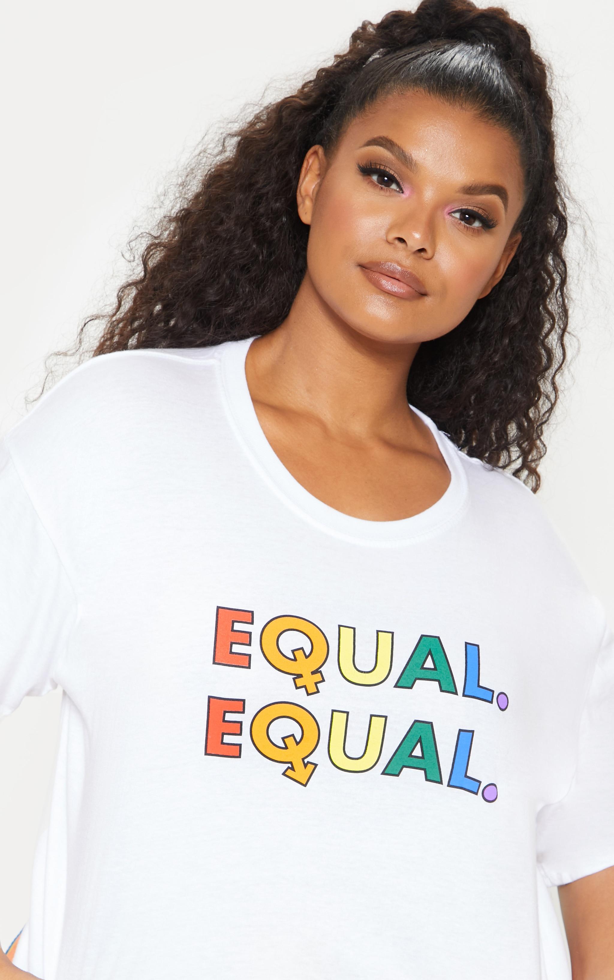 Plus White EQUAL Oversized  T-shirt  1