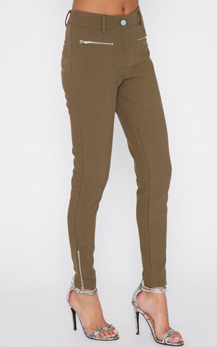 Larisa Khaki Zip Cigarette Trouser  3
