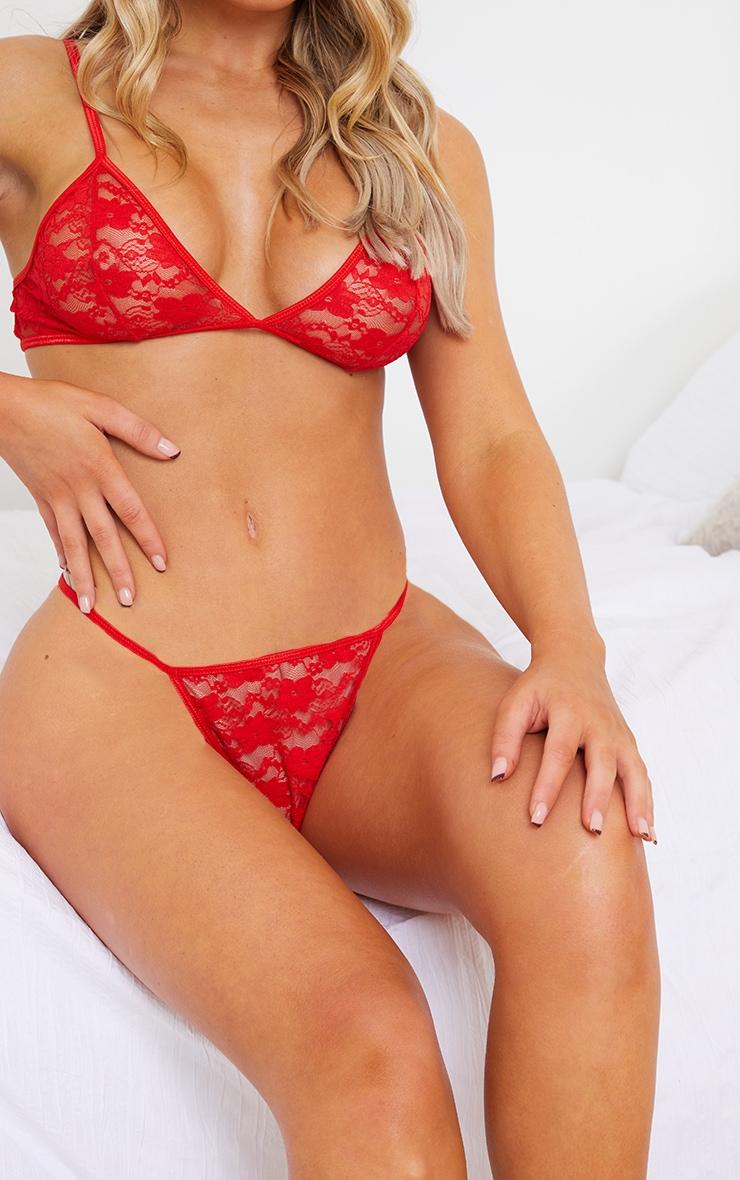 Red Basic Lace Lingerie Set 4