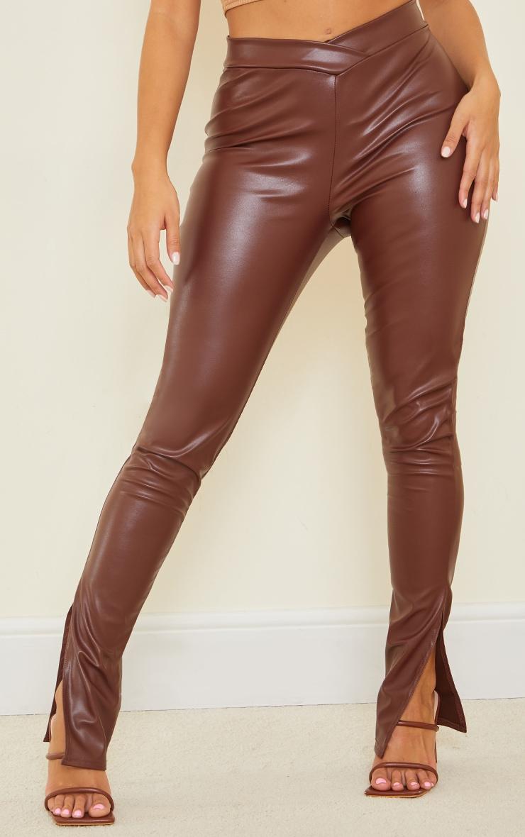 Shape Chocolate PU V Front Ruched Bum Split Hem Pants 2