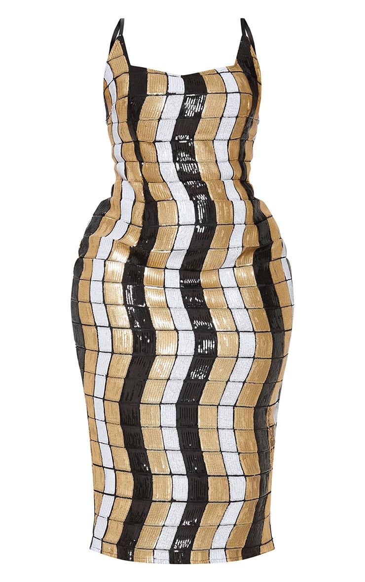 Black Sequin Block Square Neck Midi Dress 4