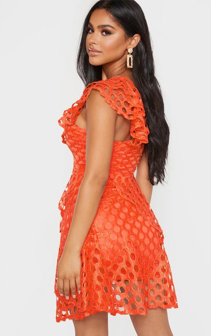 Petite Orange Lace One Shoulder Tiered Skater Dress 2