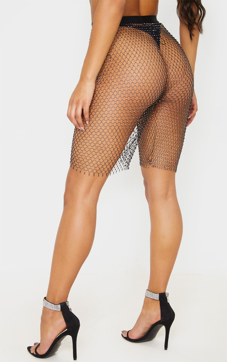 Black Mesh Diamante Cycle Short 3