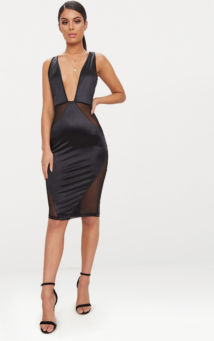 Black Satin Plunge Mesh Panel Midi Dress  1