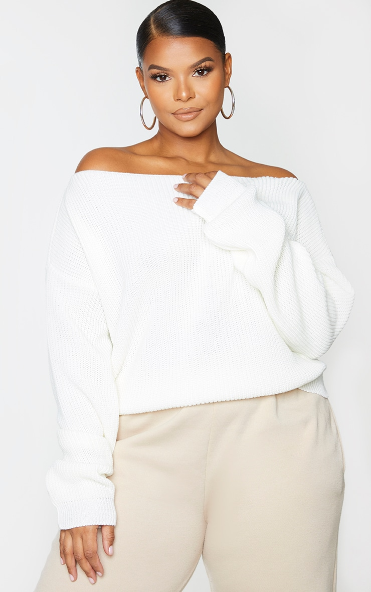 Plus Cream Slash Neck Crop Knitted Sweater 1