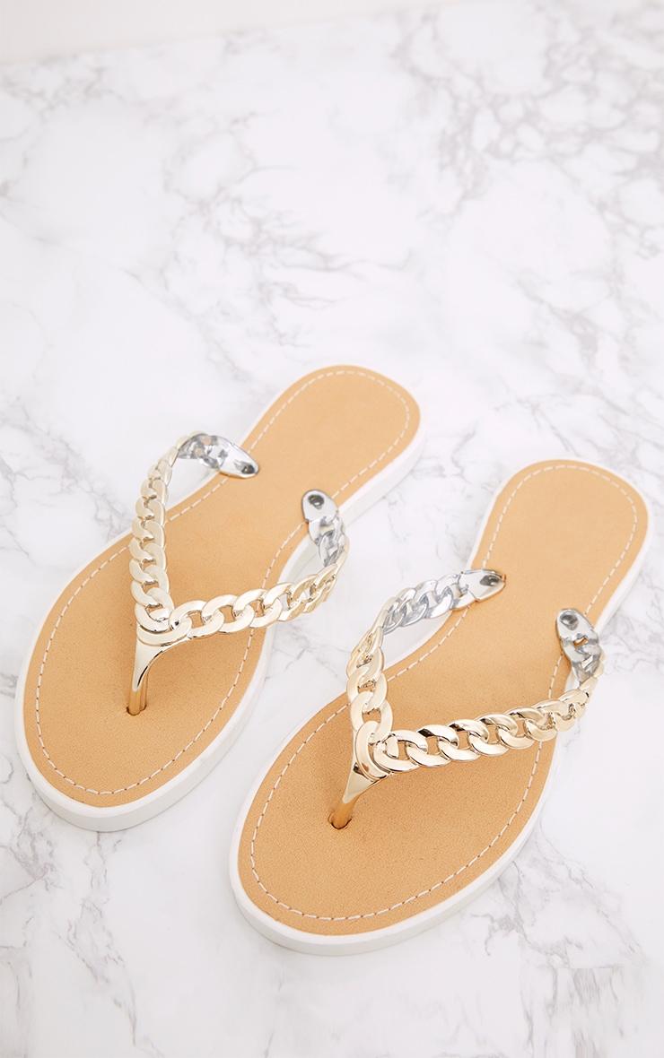 Anyia Gold Chain Flip Flops 2