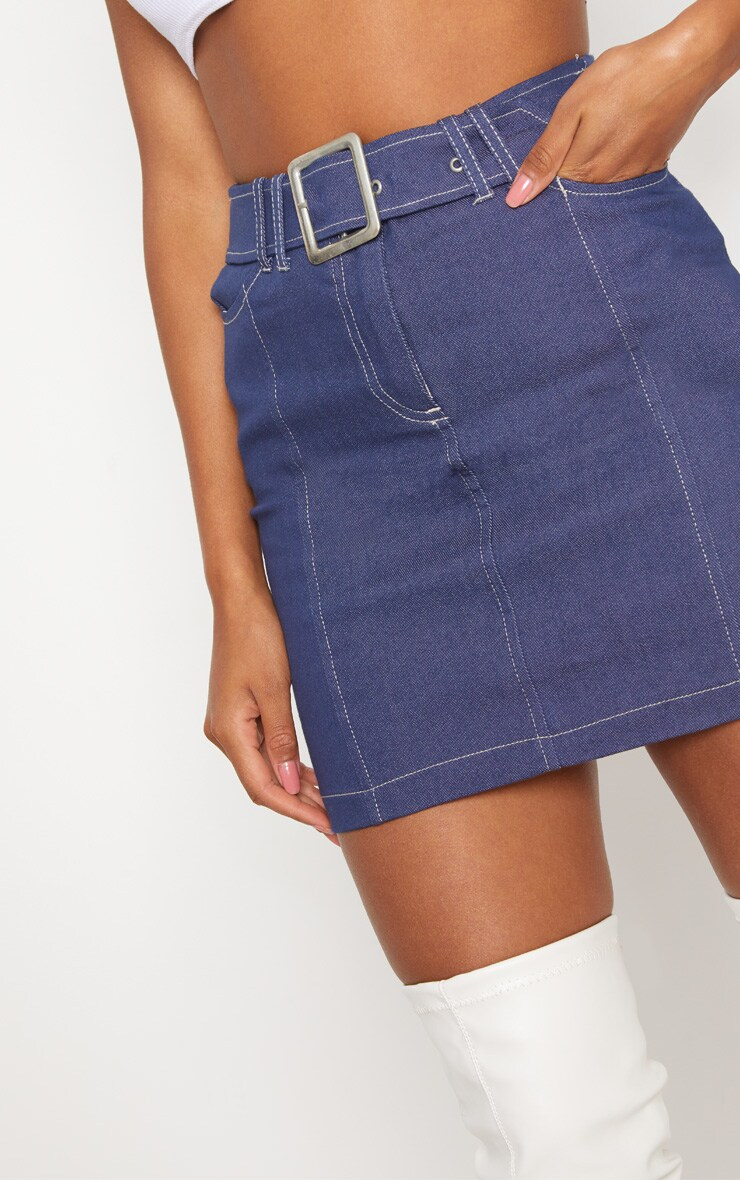Mid Wash Denim Buckle Skirt  5