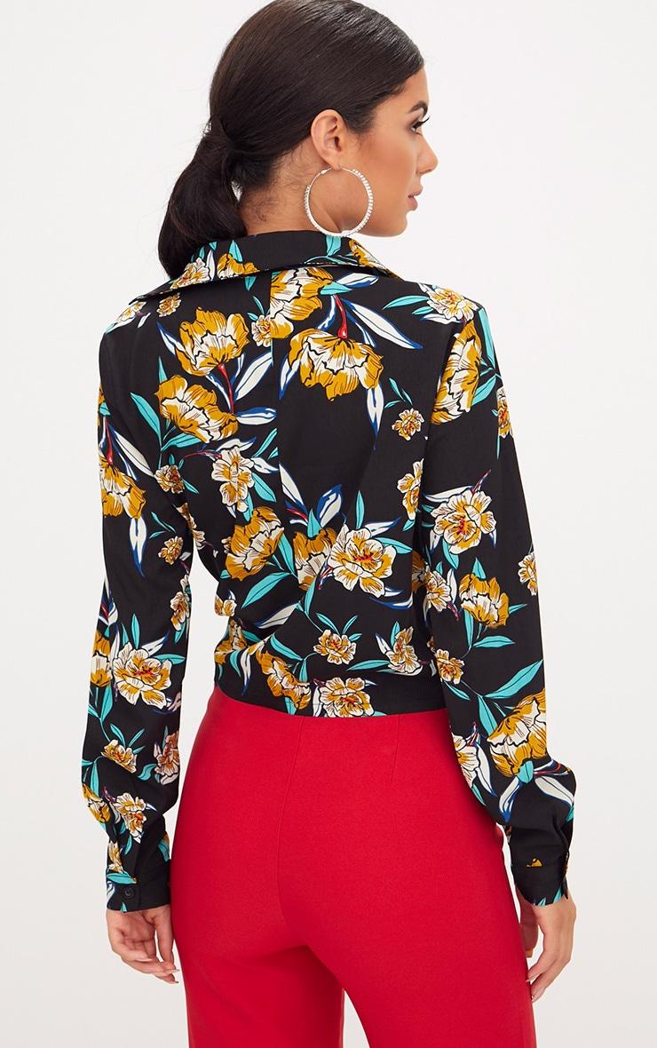 Black Floral Print Wrap Front Tie Side Blouse 2