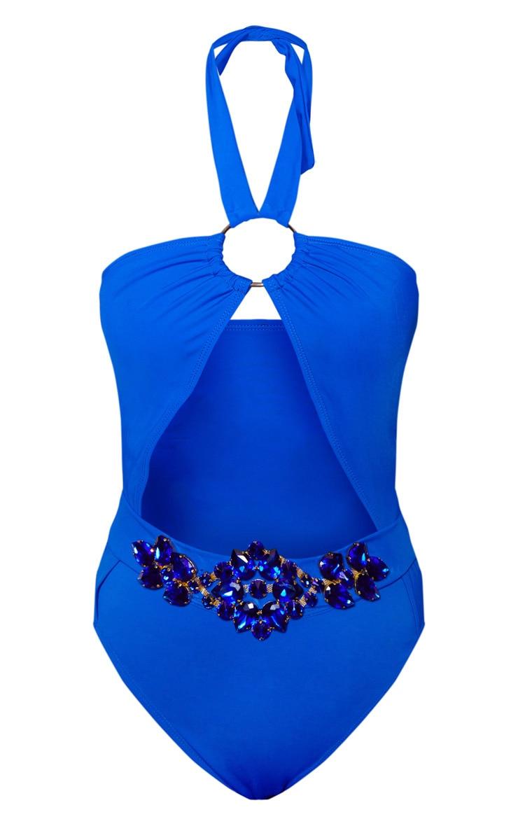 Cobalt Halterneck Jewel Belt Swimsuit 3