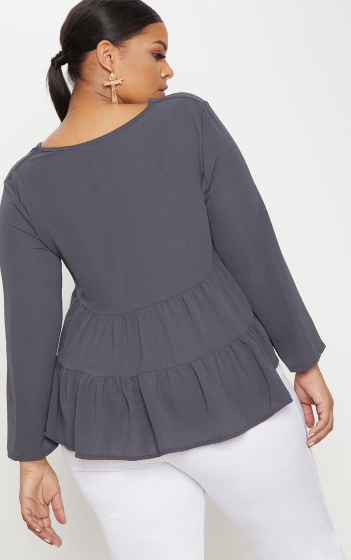 Plus Charcoal Plunge Tiered Shirt 2