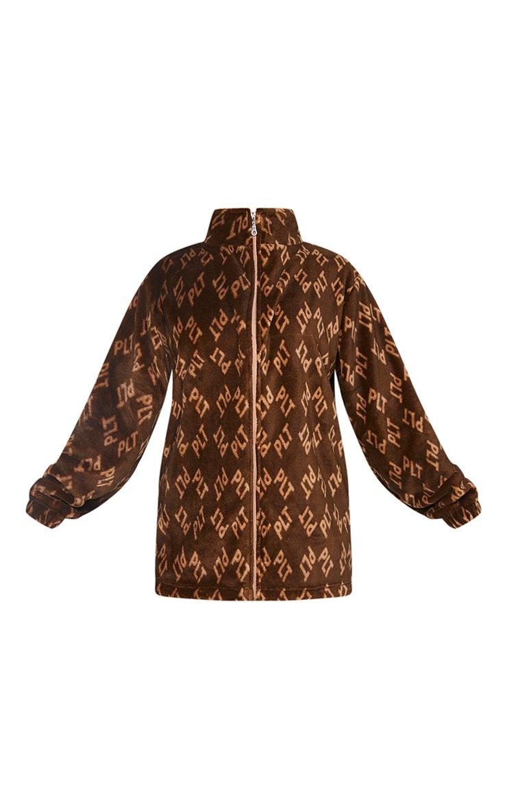 PRETTYLITTLETHING Brown Faux Fur Fleece Jacket 5